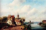 Charles Henri Joseph Leickert A Village Along A River, A Town In The Distance painting