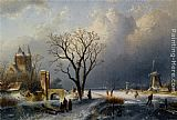 Charles Henri Joseph Leickert A Winter Landscape with Figures near a Castle painting