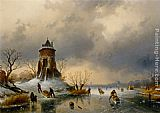 Charles Henri Joseph Leickert A Winter Landscape with Skaters on the Ice painting