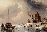 Charles Henri Joseph Leickert Figures Loading A Horse-Drawn Cart On The Ice painting
