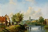 Charles Henri Joseph Leickert Figures near a waterside inn painting