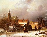 Charles Henri Joseph Leickert Figures on a Snow Covered Path with a Dutch Town beyond painting