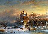 Charles Henri Joseph Leickert Skaters Near A Castle painting