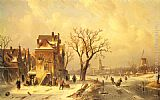 Charles Henri Joseph Leickert Skaters in a Frozen Winter Landscape painting