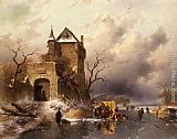 Charles Henri Joseph Leickert Skaters on a Frozen Lake by the Ruins of a Castle painting