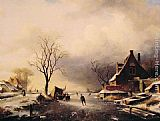 Charles Henri Joseph Leickert Winter Scene with Skaters painting