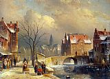 Charles Henri Joseph Leickert Winter Villagers on a Snowy Street by a Canal painting