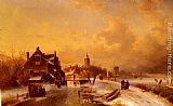 Charles Henri Joseph Leickert Winter and Summer Canal Scenes A Pair of Paintings (Pic 1) painting