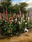 Charles Hunt Behind the Hollyhocks painting