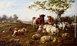 Charles Jones Resting Cattle, Sheep And Deer, A Farm Beyond painting