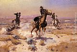 Charles Marion Russell At Rope's End painting
