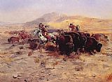 Charles Marion Russell Buffalo Hunt painting