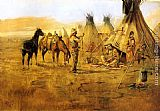 Charles Marion Russell Cowboy Bargaining for an Indian Girl painting