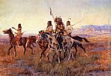 Charles Marion Russell Four Mounted Indians painting