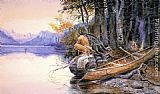 Charles Marion Russell Indian Camp - Lake McDonald painting