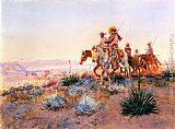 Charles Marion Russell Mexican Buffalo Hunters painting