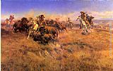 Charles Marion Russell Running Buffalo painting