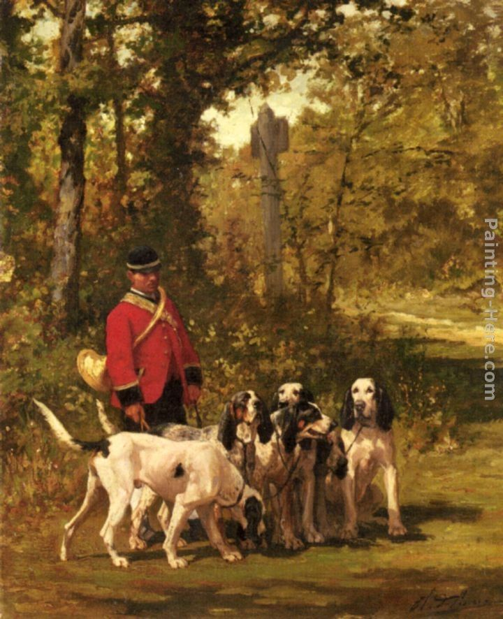Charles Olivier De Penne A Huntmaster with his Dogs on a Forest Trail