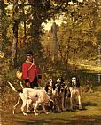 the oregon trail Canvas Prints - A Huntmaster with his Dogs on a Forest Trail