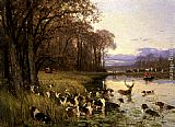 Charles Olivier De Penne A Stag At Bay painting
