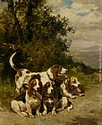 Charles Olivier De Penne Hunting with Dogs on a Forest Path painting