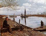 Charles Spencelayh Snodland Ferry, Kent painting