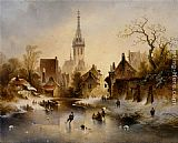 Charles van den Eycken A Winter Landscape with Skaters near a Village painting