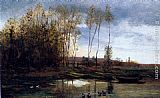 Charles-Francois Daubigny Riviere Avec Six Canards painting
