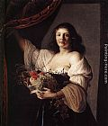 Christiaen van Couwenbergh Woman with a Basket of Fruit painting