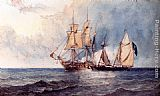 Clarkson Stanfield A Man-O-War And Pirate Ship At Full Sail On Open Seas painting