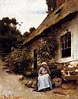 Claude Joseph Bail Woman Sewing In Front Of Her Cottage painting