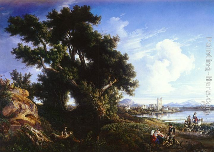 Consalvo Carelli Landscape Near Naples With The Isle Of Capri In The Distance