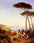 Consalvo Carelli A Group Of Peasants With The Bay Of Naples Beyond painting