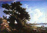 Consalvo Carelli Landscape Near Naples With The Isle Of Capri In The Distance painting