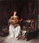 Cornelis Bega Woman Playing a Lute painting