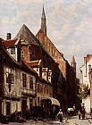 Cornelis Springer A Busy Street In Bremen With The Saint Johann Church In The Background painting