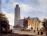 Cornelis Springer A Cathedral On A Townsquare In Summer painting