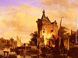 Cornelis Springer Along the Canal painting