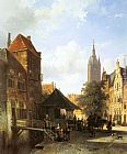 Cornelis Springer Figures in a Street in Delft painting