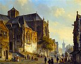 Cornelis Springer Figures on a Market Square in a Dutch Town painting