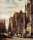 Cornelis Springer Many Figures On The Market Square In Front Of The Martinikirche, Braunschweig painting