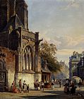 Cornelis Springer Town Square Before A Church A Capriccio painting