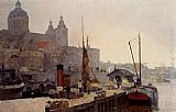 Cornelis Vreedenburgh A View Of Amsterdam With The St. Nicolaas Church painting