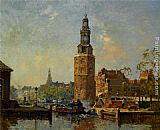 Cornelis Vreedenburgh A view of the Montelbaanstoren Amsterdam painting