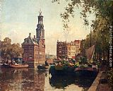 Cornelis Vreedenburgh The Flowermarket On The Singel, Amsterdam, With The Munttoren Beyond painting