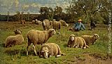 mad dogs Paintings - A Shepherd and His Dog Guarding a Flock of Sheep