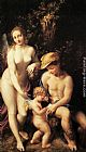 correggio Paintings - Venus with Mercury and Cupid