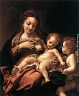 correggio Paintings - Virgin and Child with an Angel (Madonna del Latte)