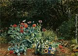 David Bates Summer Flowers in a Quiet Corner of the Garden painting