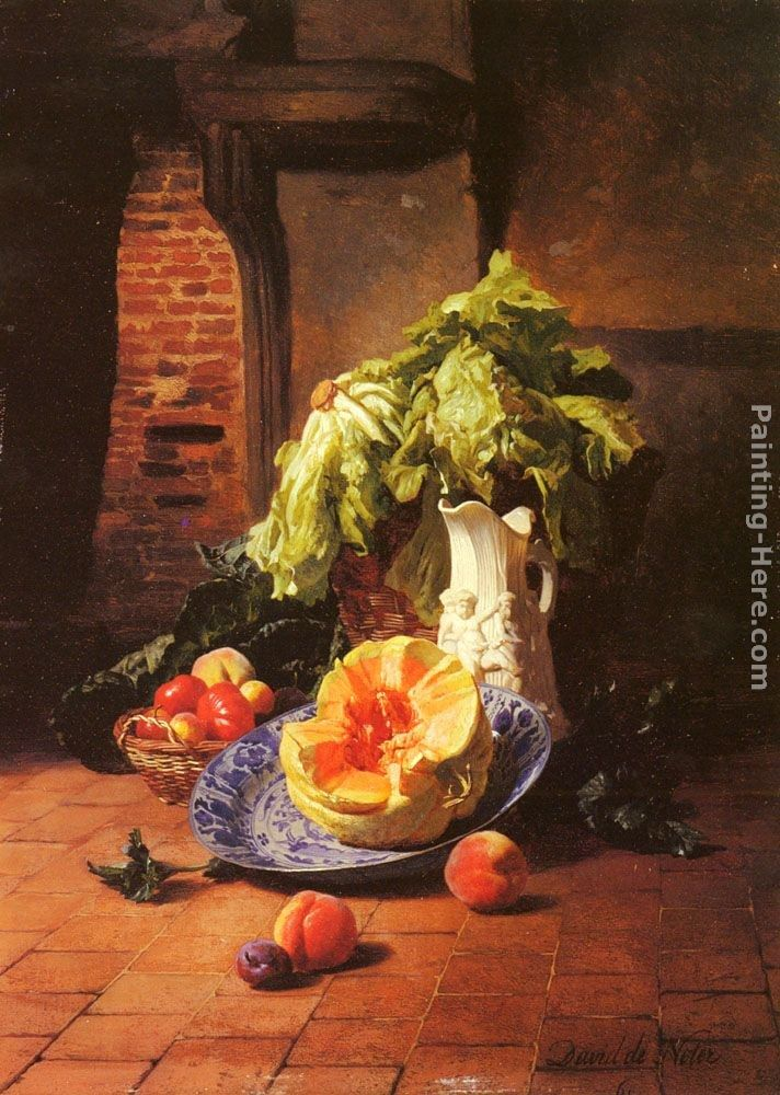 David Emile Joseph de Noter A Still Life With A White Porcelain Pitcher, Fruit And Vegetables